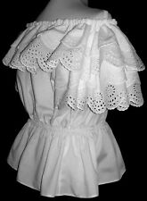 White Classic Peasant Blouse with Double Ruffled Eyelet-lace _ Size 6