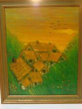 Vtg Landscape Cottage House Germany Oil Painting Mid Century School Art ? Signed