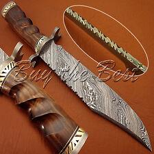 BEAUTIFUL CUSTOM HAND MADE DAMASCUS STEEL HUNTING BOWIE KNIFE WITH WALNUT WOOD