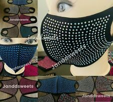 Reusable Rhinestone Face Mask Washable, Sparkly Cover Mouth Nose Fashion Dazzle