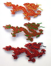 3x CHINESE DRAGON TATTOO  Embroidered Iron Sew On Cloth Patch Badge  APPLIQUE