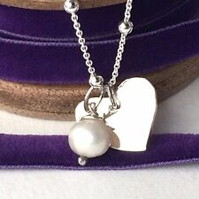 """Pearl Silver Quirky Heart Necklace - Delicate Sterling Silver Chain (18""""/45cm)"""