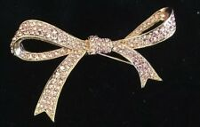 Rose Gold Tone Stylized Bow Ribbon Pin Kenneth Jay Lane Pink Rhinestones Set in