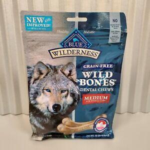 Blue Wilderness Grain-Free Wild Bones Dental Chews Medium 10oz Package New 10/21