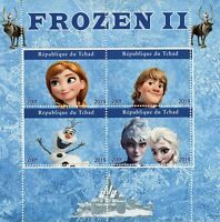 Chad Disney Stamps 2019 MNH Frozen 2 Elsa Olaf Cartoons Animation 4v M/S