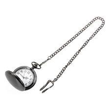 1X(Montre gousset quartz boule homme femme boitier miroir argent noir chaine ntr