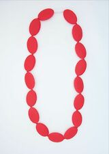 Red Oval Silicone Teething Nursing Breastfeeding Necklace Chewable Beads 3403
