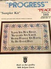 Vintage PEACE Cross Stitch embroidery Kit Floral Stamped Linen Sampler Tobin