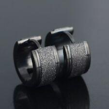 1 Pair Men's Stainless Steel Black Hoop Earrings Stud Plug Ear Fashion