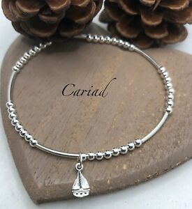 Sterling Silver Beaded Stacking Bracelet with a Sailing Boat charm