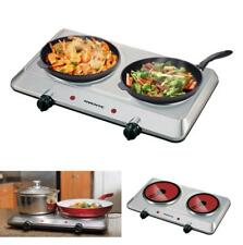 Double Burner Electric Cooktop Portable Infrared Camping Two Plate Cooking Stove