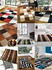 Modern Shaggy Rug Black Blue Brown Orange Grey Multi in Various sizes Carpet