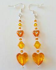 New Handmade Orange Acrylic Heart Bicone and Seed Beaded Dangle Drop Earrings