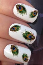 Acqua per unghie trasferimenti Occhio Di Pavone Piuma PLUMES Nail Art Decalcomanie Adesivi * 330