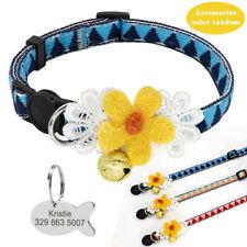 1Pc Safety Custom Name Pet Cat Collars Adjustable Kitten Nylon Collar With Bell