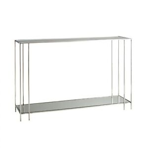 "52"" Long Console Table Modern Silver Gray Polished Nickel Plain Finish Solid Ste"