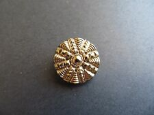 1800s Antique Sm Gilded Glass 4-Way Brass Shank Jacket Collectible Button-18mm