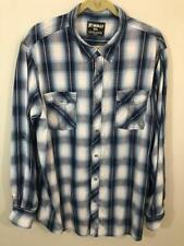 Skully Western Snap Shirt 2XL 50 Chest Blue Plaid Long + 3/4 Sleeves Fast Ship