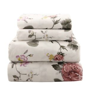 Beautiful Soft Bedding Sheet Set Watercolor Burgundy & Lavender Floral