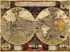 MAP ANTIQUE HEMISPHERE GLOBE WORLD 30X40 CMS FINE ART PRINT ART POSTER BB8176