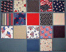 "Patriotic USA American Stars Stripes Flags Cotton Fabric 291 -- 5"" Charm Squares"