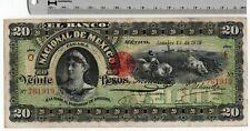 1912 Oct. - El Banco Nacional de Mexico 20 Pesos Mexican Banknote