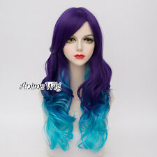 Long Curly Hair Lolita 65CM Purple Mixed Sky Blue Ombre Anime Cosplay Wig + Cap