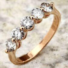 Estate .90Ct Natural VS1 Diamond 14K Solid Rose Gold Ring