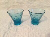 "2 Hazel Atlas Glass CAPRI DOTS Turquois Blue Flared 3"" Mid-Century"