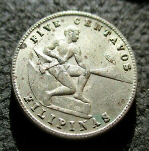 OLD COIN OF PHILIPPINES (US ADMINISTRATION) 5 CENTAVOS 1944 WORLD WAR II
