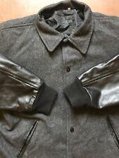 VARSITY JACKET Leather Sleeves Mens size Large Black/Grey