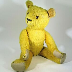 """Antique fully jointed straw excelsior stuffed gold mohair TEDDY BEAR 18"""" vintage"""