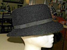 Mohair Blend Black Fedora Hat  Made In Italy OS   FREE SHIPPING INCLUDED