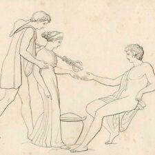 Pandore reçue par Epiméthée Hésiode Mythologie Poésie John Flaxman gravure 19e