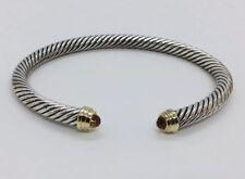 David Yurman Authentic Sterling Silver & 14k Gold Faceted Citrine 5mm Bracelet