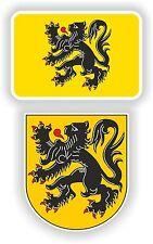 FLANDERS flag coat of arm 2 stickers Vlaanderen Belgium