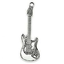 10 Pendentifs Breloque Forme Guitare Argent vieilli 5.5cmx1.8cm