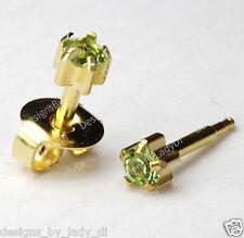 Gold Ear Piercing Earrings 4mm Green August Pronged Gem Hypoallergenic