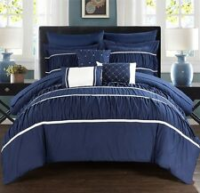 New 10 Piece Comforter Set Bed in a Bag Bedding Sheets Queen Size Bedspread Blue