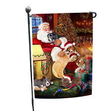 Pit Bull Dog and Puppies Sleeping with Santa Garden Flag