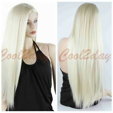 Women  Long Straight Blonde Wig Heat Resistant Hair Cosplay Wigs Synthetic Wigs
