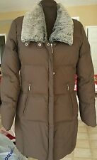 Columbia Down Winter Coat Puffer Jacket Medium Brown with faux fur collar