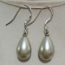 8X12MM Gray Shell Pearl Drop Earrings AAA+