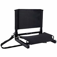 Portable Folding Stadium Seat Back Chair Bum Cushion Padded Bleacher Sport Black