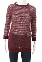 Isabel Marant Womens Open Kni Crew Neck Sweater Red Cotton Size 0