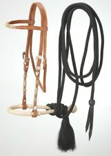 Browband Headstall - Bosal - Mecate Rein Set - Light Oil Leather