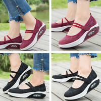 Comfort Women's Flat Platform Shoes Breathable Mesh Boat Walking Hiking Shoes US