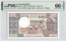 Congo Republic 1983 P-3e PMG Gem UNC 66 EPQ 1000 Francs