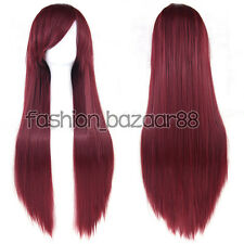 Women Girls Long Synthetic Anime Wig Cosplay Party Straight Hair Full Wig 32inch
