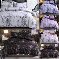 Marbled Print Soft Duvet Covers Comforter Set Bedding Full Queen King 8 Sizes